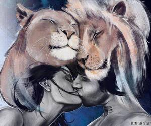 love, lion, and kiss image