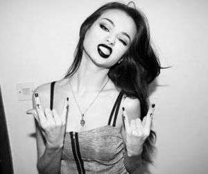 girl, rock, and black and white image