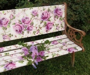 flowers, garden, and bench image