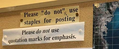 bulletin board, signs, and snark image