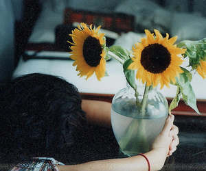 flowers, vintage, and sunflower image