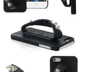 black leather, iphone 5, and apple case image