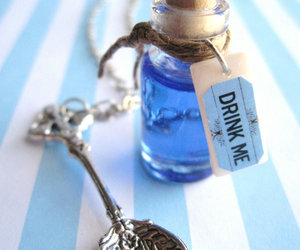 drink me, alice, and blue image