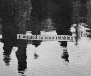 thinking, stop, and black and white image