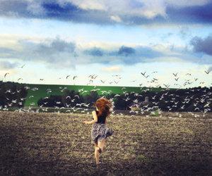 girl, bird, and run image