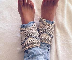 feet, jeans, and shell image