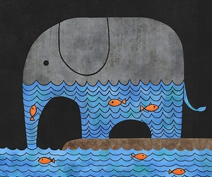 elephant, fish, and water image
