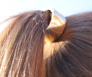 hair, gold, and ponytail image