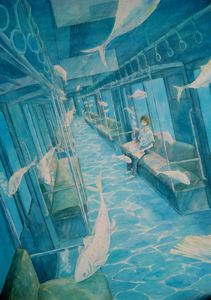 fish, train, and blue image
