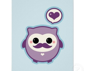 mustache, owl, and cute image
