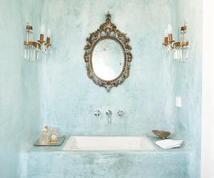 bathroom, mirror, and blue image