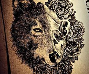 wolf, tattoo, and drawing image