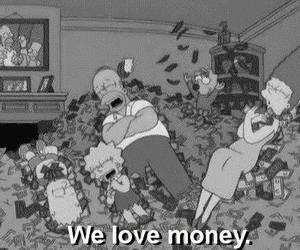 money, simpsons, and black and white image