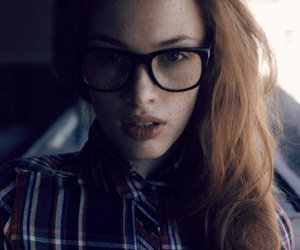 girl, glasses, and redhead image