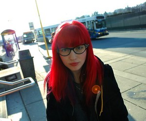fringe, girl, and red hair image