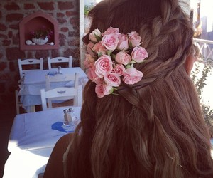 girl, hair, and flowers image
