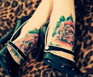 tattoo, rose, and shoes image