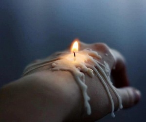 candle, Hot, and fingers image