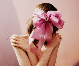 girl, pink, and bow image