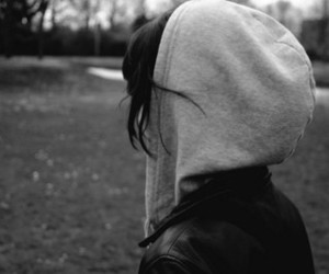 girl, black and white, and hoodie image