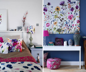 bedroom, flower print, and decor image