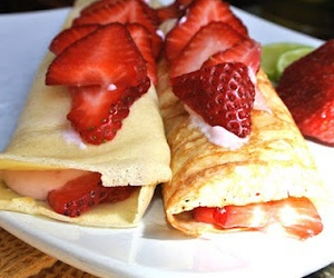 food, strawberry, and crepes image