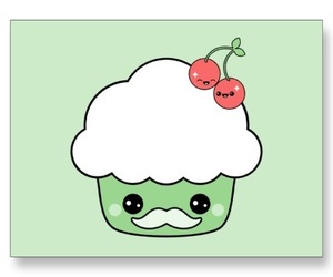 mustaches, cute cartoon, and mustache cupcakes image