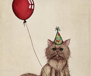 balloon, cat, and celebration image