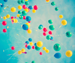 air, baloons, and blue image