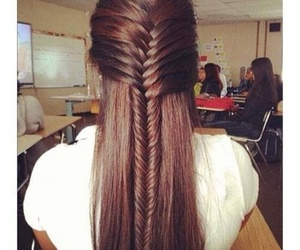 hair, braid, and brown image