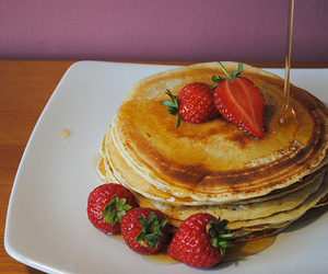 food, strawberry, and syrup image