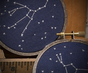 art, constellations, and embroidery image