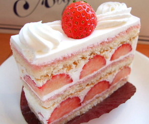 cake, strawberry, and food image