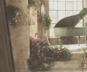 flowers, piano, and vintage image