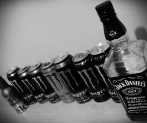 alcohol, black and white, and drunk image