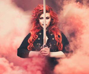 beautiful, red hair, and smoke image