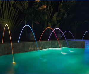 neon lights, pool, and outdoor. night image