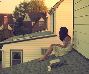 girl, roof, and house image