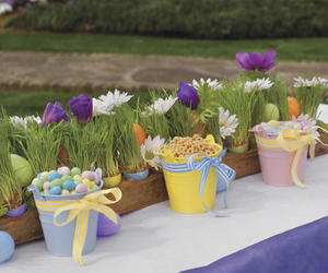 bow, bucket, and flowers image