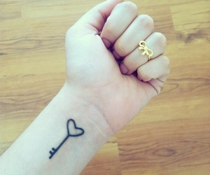 tattoo, key, and heart image