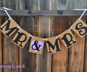 banner, just married, and lavender image