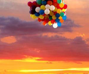 balloons, sky, and sunset image