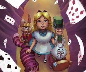 alice, Cheshire cat, and alice in wonderland image