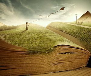 book, kite, and imagination image
