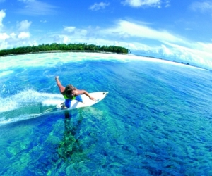 surfing, blue, and summer image
