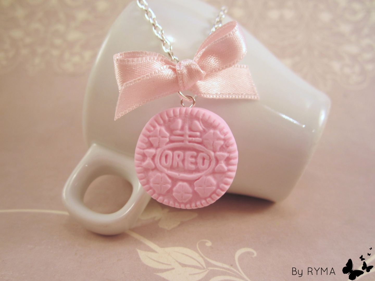 Collier mini OREO rose gourmand fimo BY RYMA : Collier par made-by ...