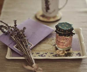 flowers, lavender, and Letter image
