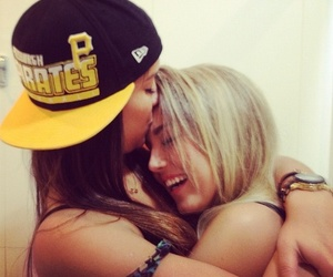 blonde, brunette, and love image