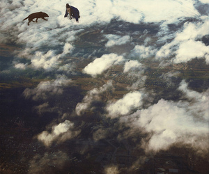 birds eye view, clouds, and trippy image