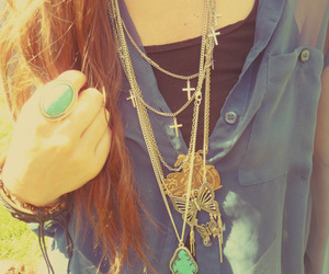 long hair, necklaces, and ring image